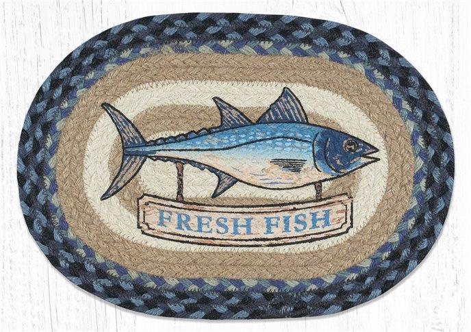 "Fresh Fish Printed Oval Braided Swatch 10""x15"" Thumbnail"