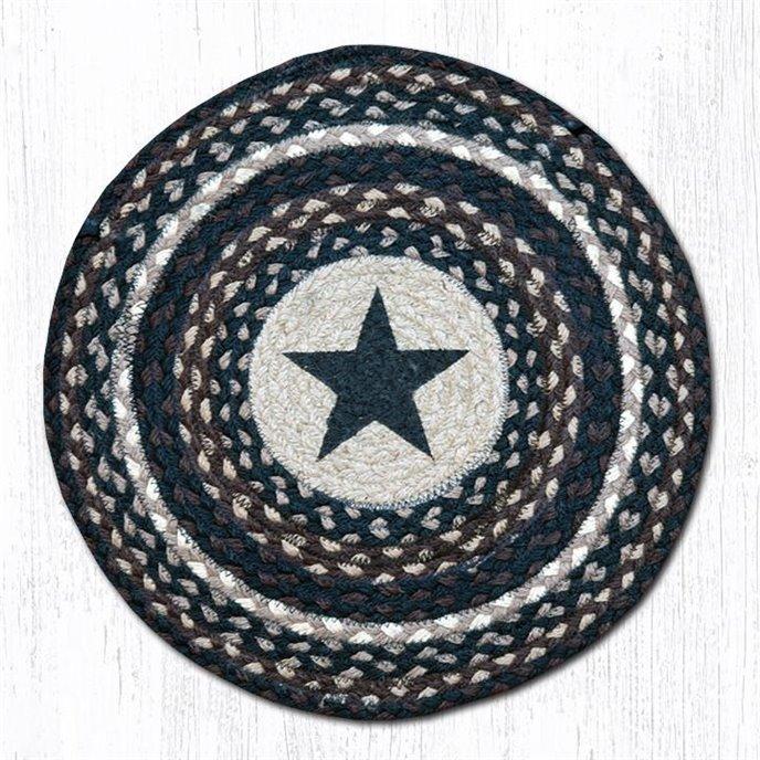 """Black Star Round Braided Chair Pad 15.5""""x15.5"""" Thumbnail"""