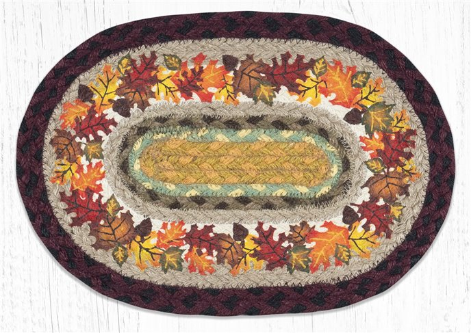 """Autumn Printed Oval Braided Swatch 10""""x15"""" Thumbnail"""