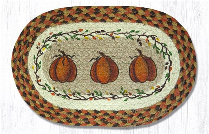 """Harvest Pumpkin Printed Oval Braided Swatch 10""""x15"""" Thumbnail"""