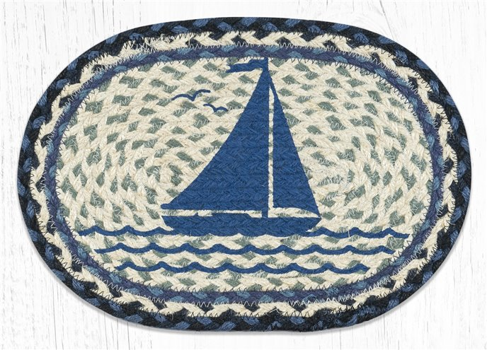 """Sailboat Printed Oval Braided Swatch 10""""x15"""" Thumbnail"""