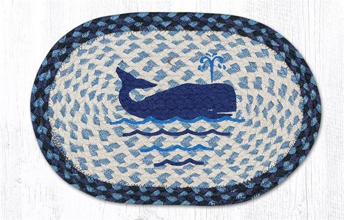 """Whale Printed Oval Braided Swatch 10""""x15"""" Thumbnail"""