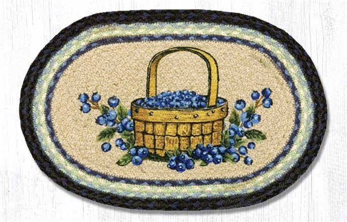 """Blueberry Basket Printed Oval Braided Swatch 10""""x15"""" Thumbnail"""