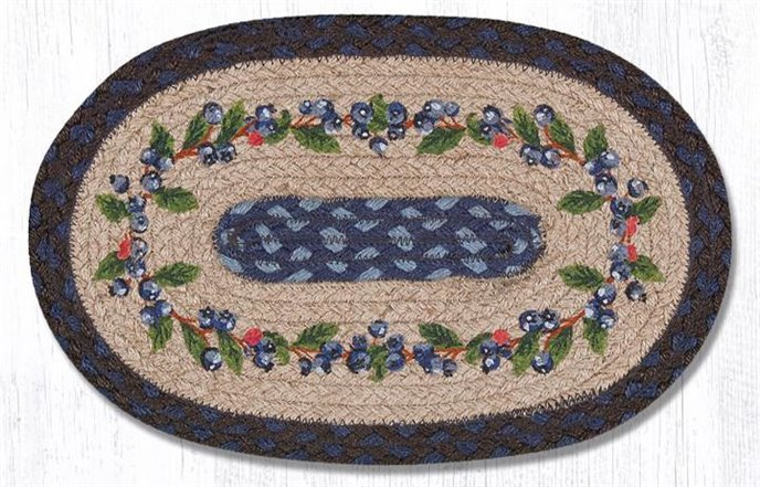 "Blueberry Vine Printed Oval Braided Swatch 10""x15"" Thumbnail"