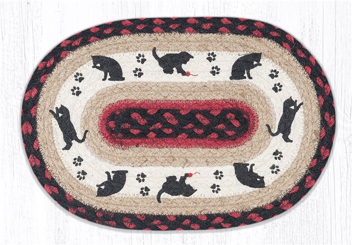 """Cat and Kitten Printed Oval Braided Swatch 10""""x15"""" Thumbnail"""
