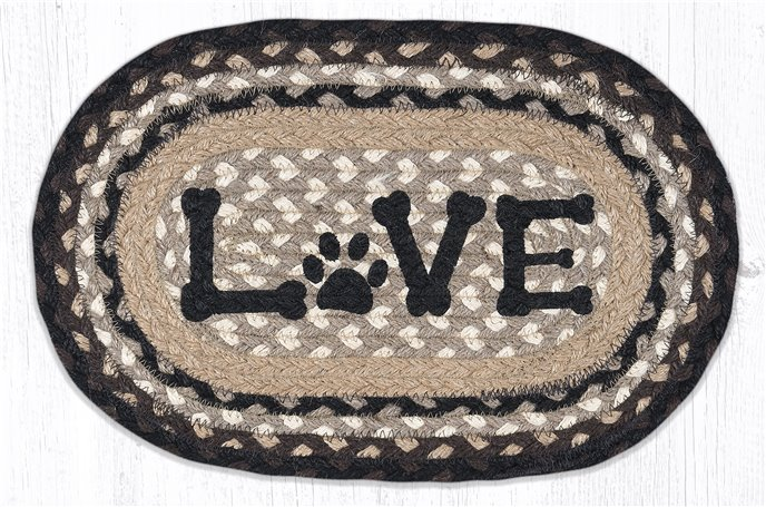 """Love Pet Printed Oval Braided Swatch 10""""x15"""" Thumbnail"""