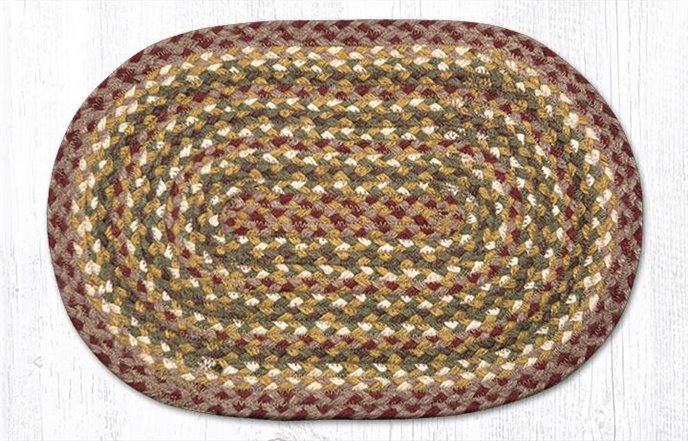 """Olive/Burgundy/Gray Oval Braided Swatch 10""""x15"""" Thumbnail"""