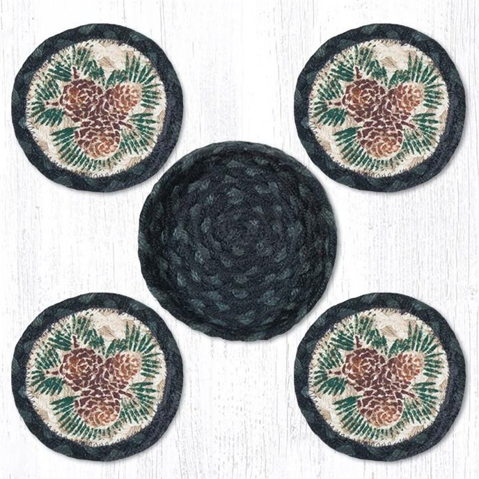 """Pinecone Braided Coasters in a Basket 5""""x5"""" Set of 4 Thumbnail"""