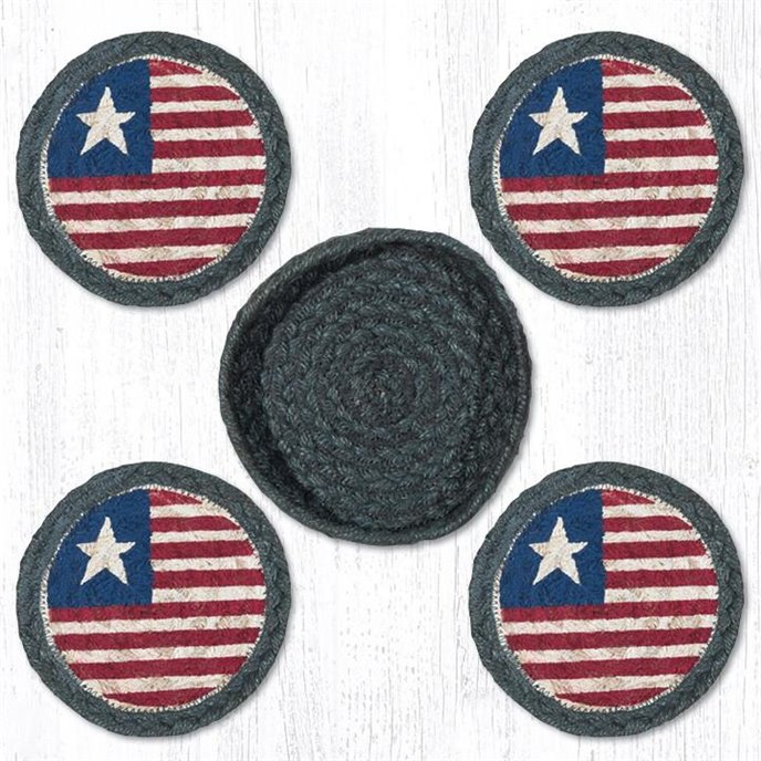 """Original Flag Braided Coasters in a Basket 5""""x5"""" Set of 4 Thumbnail"""
