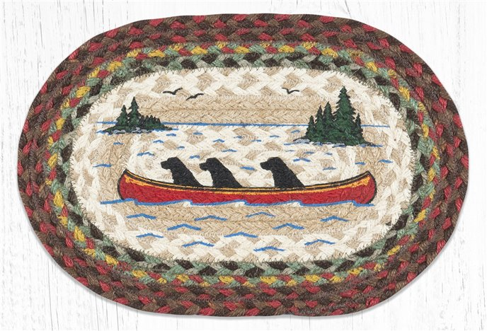 "Labs in Canoe Printed Oval Braided Swatch 10""x15"" Thumbnail"