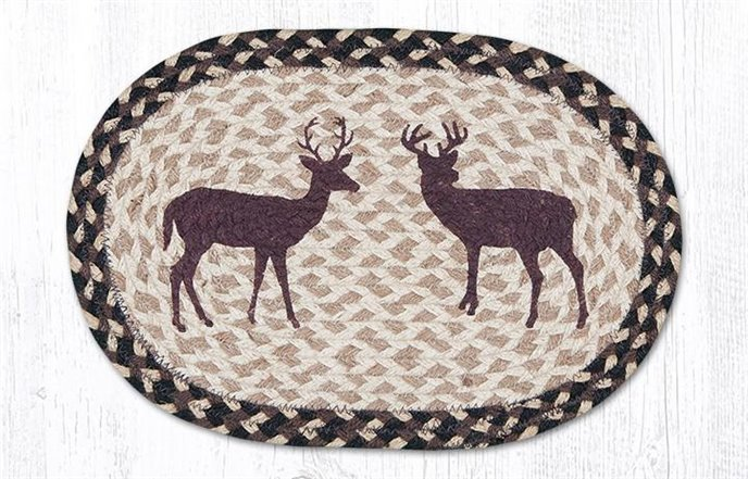 """Deer Silhouette Printed Oval Braided Swatch 10""""x15"""" Thumbnail"""