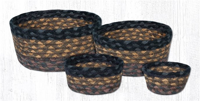 Brown/Black/Charcoal Braided Casserole Baskets Set of 4 Thumbnail