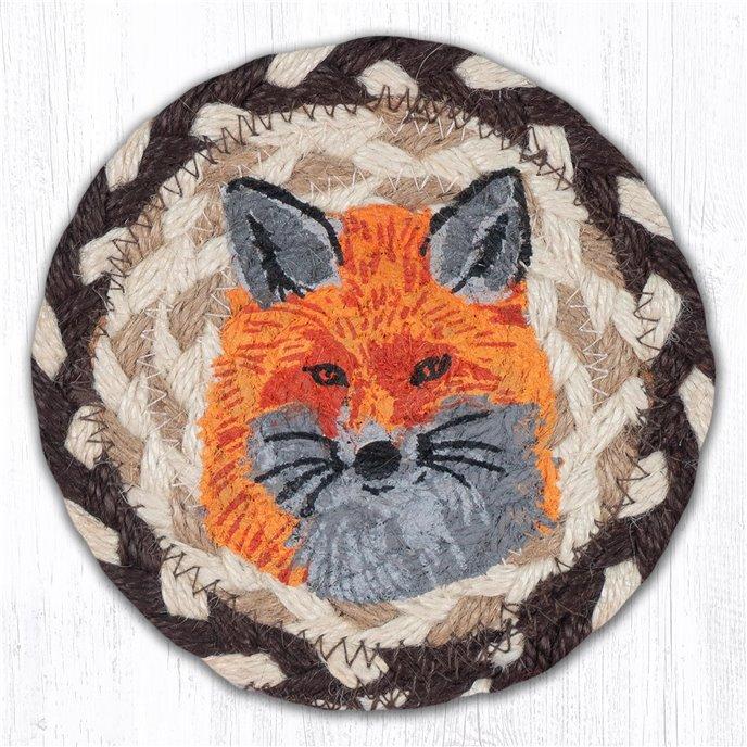 "Fox Printed Braided Coaster 5""x5"" Set of 4 Thumbnail"