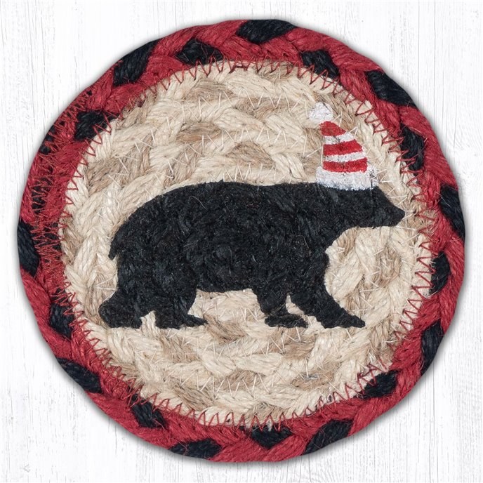 "Bear Red Stripe Hat Printed Braided Coaster 5""x5"" Set of 4 Thumbnail"