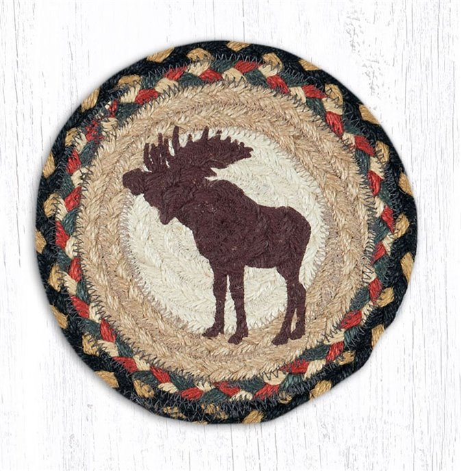 "Bull Moose Round Large Braided Coaster 7""x7"" Set of 4 Thumbnail"