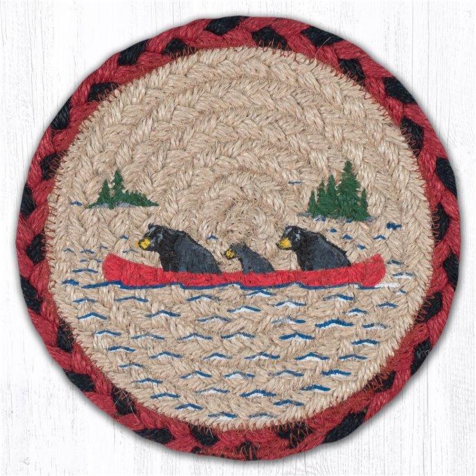 "Bears in Canoe Round Large Braided Coaster 7""x7"" Set of 4 Thumbnail"