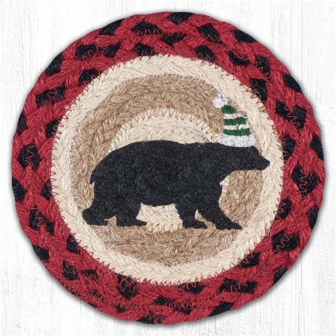 "Bear Green Stripe Hat Round Large Braided Coaster 7""x7"" Set of 4 Thumbnail"