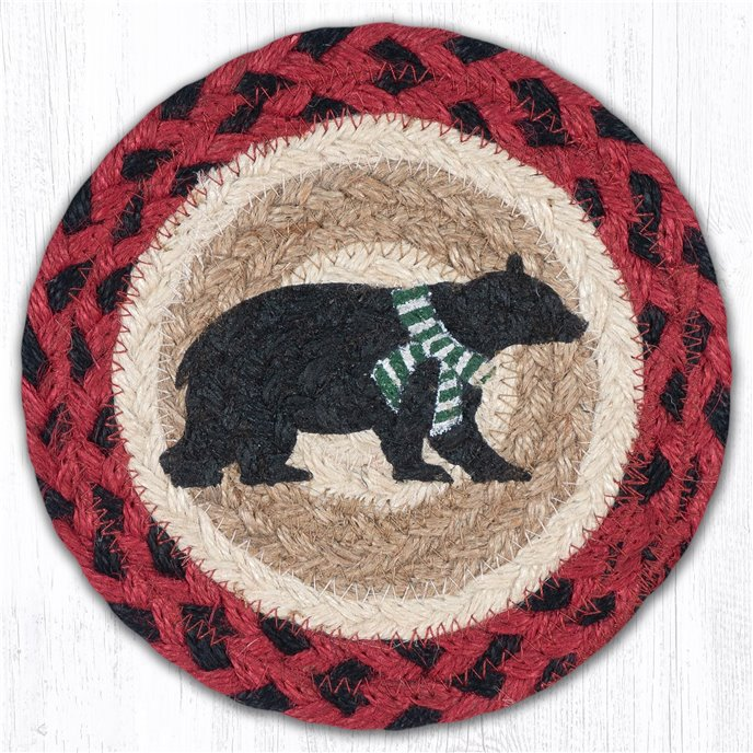 "Bear Green Stripe Scarf Round Large Braided Coaster 7""x7"" Set of 4 Thumbnail"