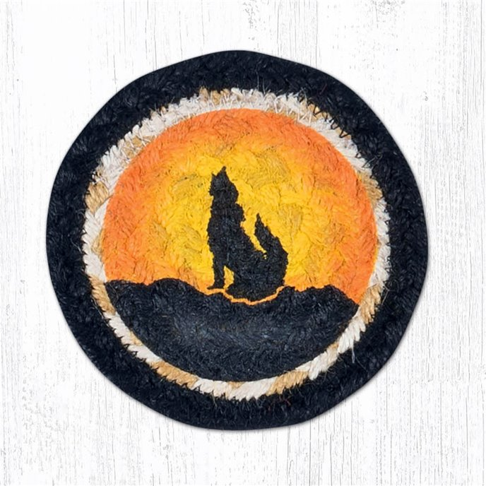 """Coyote Silhouette Printed Braided Coaster 5""""x5"""" Set of 4 Thumbnail"""