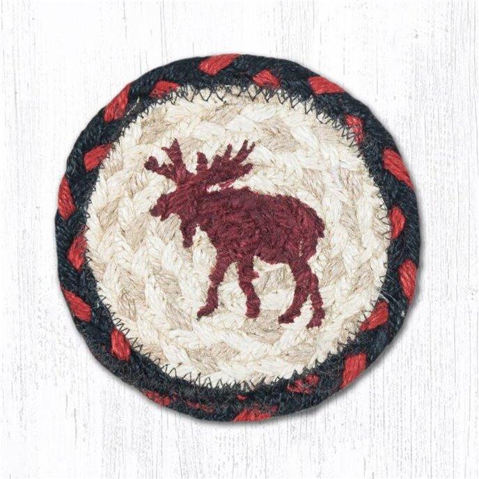 "Moose Printed Braided Coaster 5""x5"" Set of 4 Thumbnail"