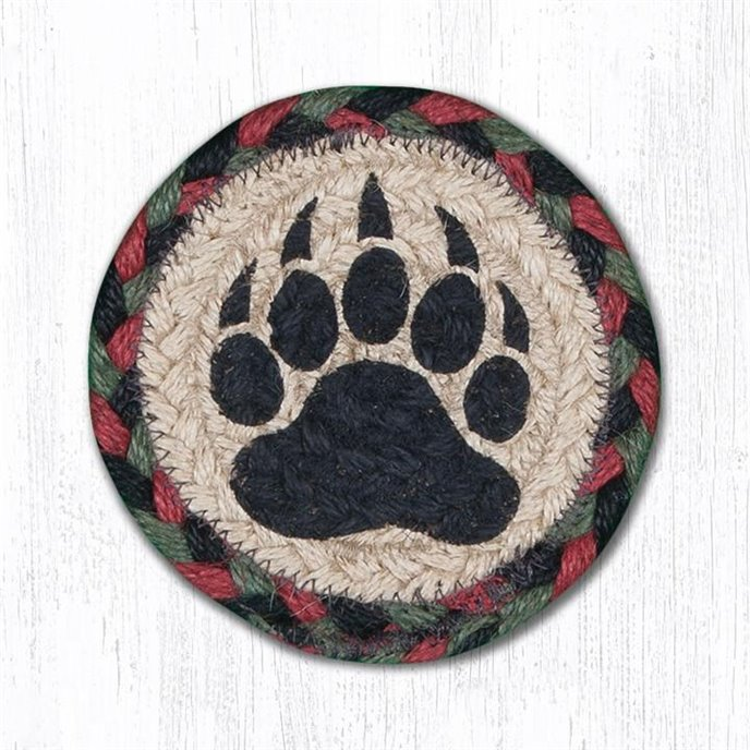 "Bear Paw Printed Braided Coaster 5""x5"" Set of 4 Thumbnail"