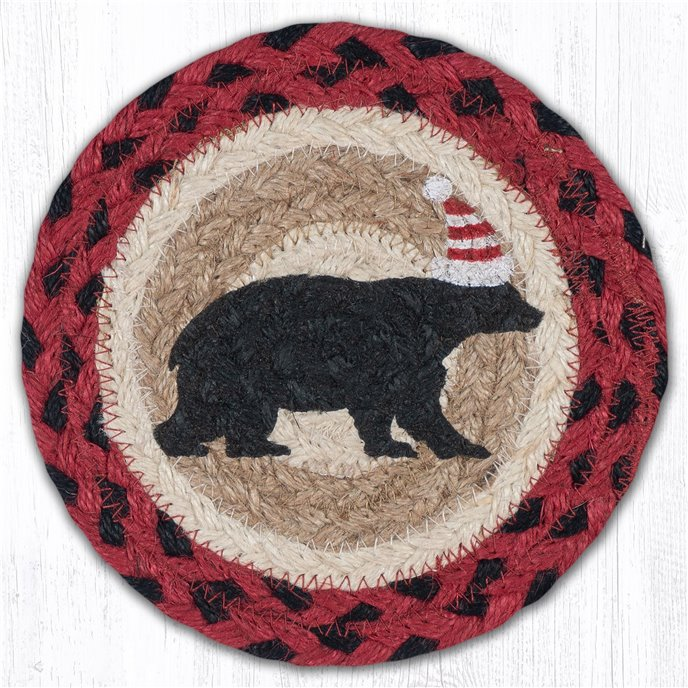 "Bear Red Stripe Hat Round Large Braided Coaster 7""x7"" Set of 4 Thumbnail"