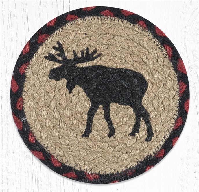 "Black Moose Round Large Braided Coaster 7""x7"" Set of 4 Thumbnail"