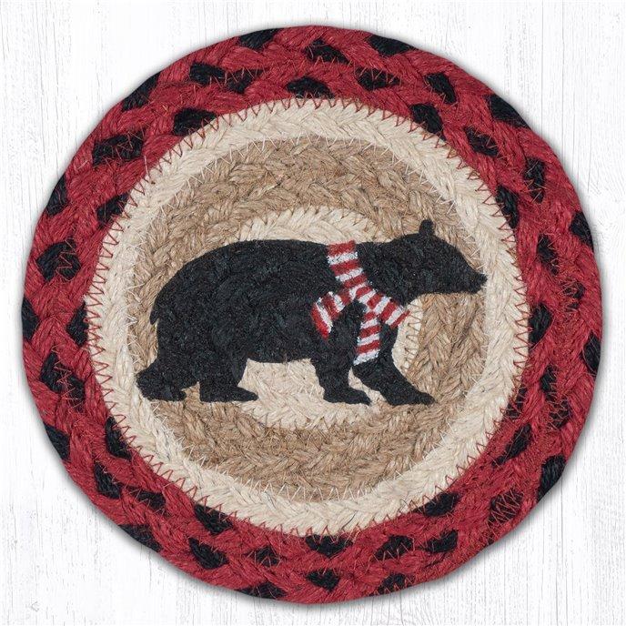 "Bear Red Stripe Scarf Round Large Braided Coaster 7""x7"" Set of 4 Thumbnail"