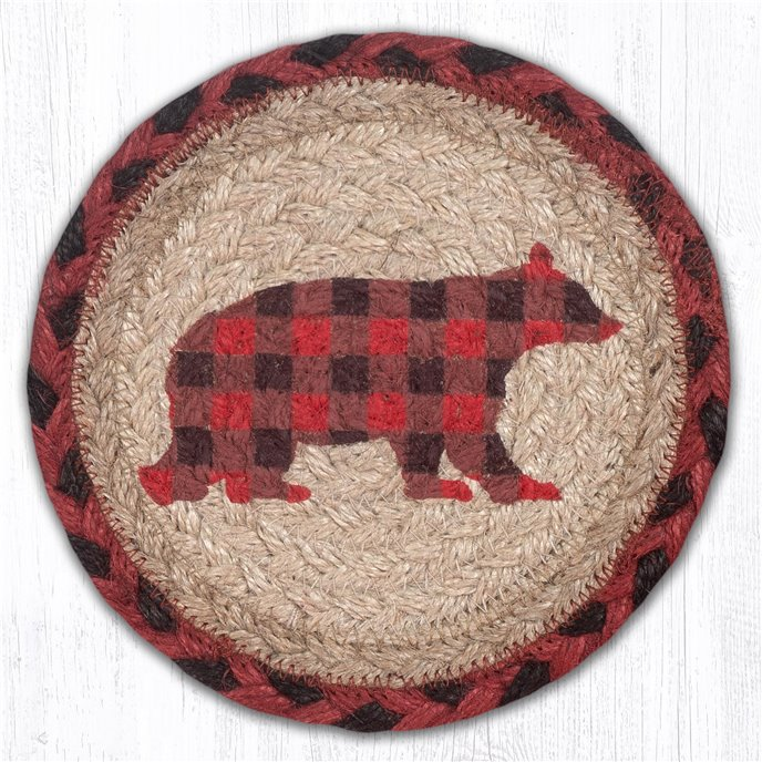 """Flannel Bear Round Large Braided Coaster 7""""x7"""" Set of 4 Thumbnail"""