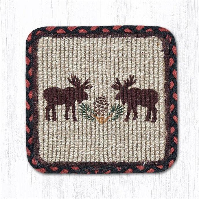 "Moose/Pinecone Wicker Weave Braided Coaster 5""x5"" Set of 4 Thumbnail"