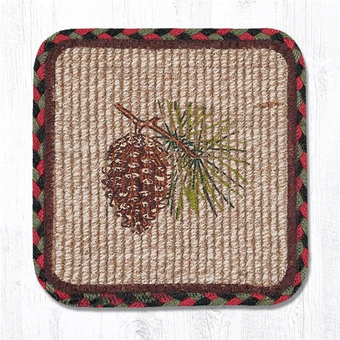 """Pinecone Wicker Weave Braided Coaster 5""""x5"""" Set of 4 Thumbnail"""