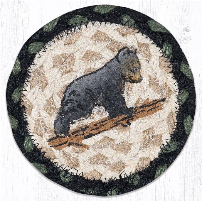 "Bear Cub Printed Braided Coaster 5""x5"" Set of 4 Thumbnail"