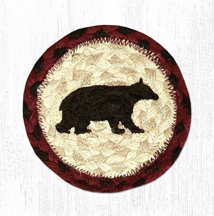 "Cabin Bear Printed Braided Coaster 5""x5"" Set of 4 Thumbnail"