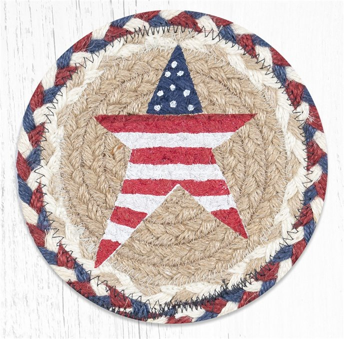 """Primitive American Star Round Large Braided Coaster 7""""x7"""" Set of 4 Thumbnail"""