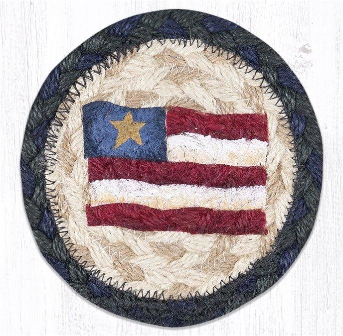 "Primitive Star Flag Printed Braided Coaster 5""x5"" Set of 4 Thumbnail"