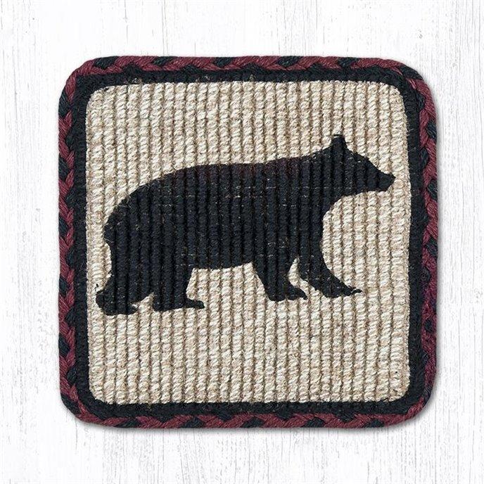 "Cabin Bear Wicker Weave Braided Coaster 5""x5"" Set of 4 Thumbnail"
