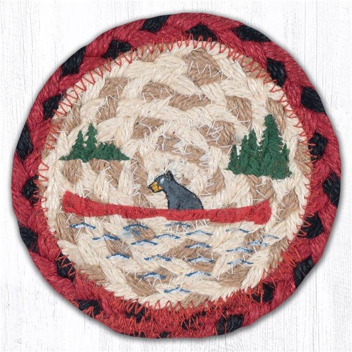 "Bears in Canoe Printed Braided Coaster 5""x5"" Set of 4 Thumbnail"