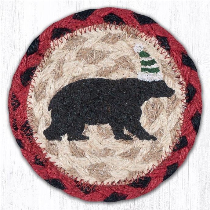 "Bear Green Stripe Hat Printed Braided Coaster 5""x5"" Set of 4 Thumbnail"