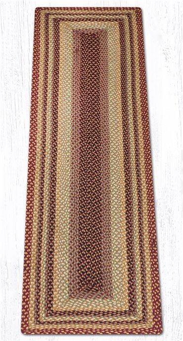 Burgundy/Gray/Cream/Mustard Rectangular Braided Rug 2'x8' Thumbnail