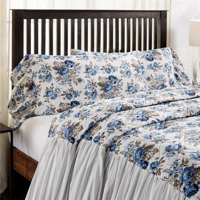 Annie Blue Floral Ruffled King Pillow Case Set of 2 21x36+8 Thumbnail