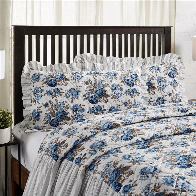 Annie Blue Floral Ruffled King Sham 21x37 Thumbnail