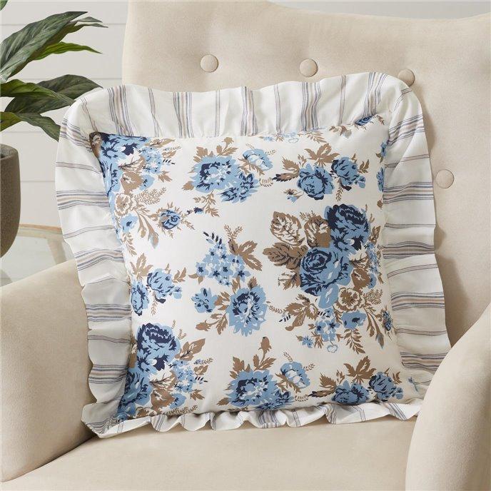 Annie Blue Floral Ruffled Pillow 18x18 Thumbnail