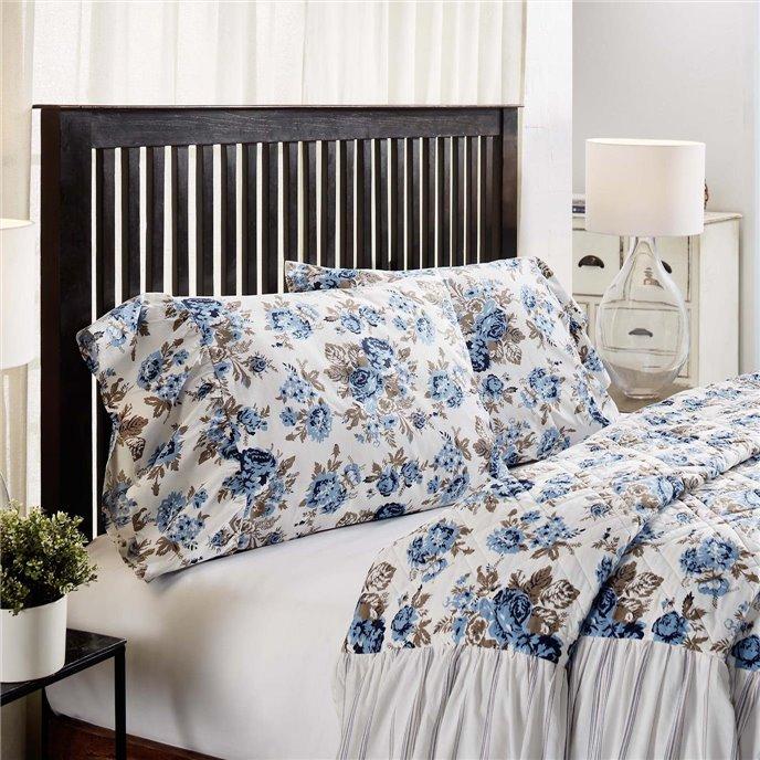 Annie Blue Floral Ruffled Standard Pillow Case Set of 2 21x26+8 Thumbnail