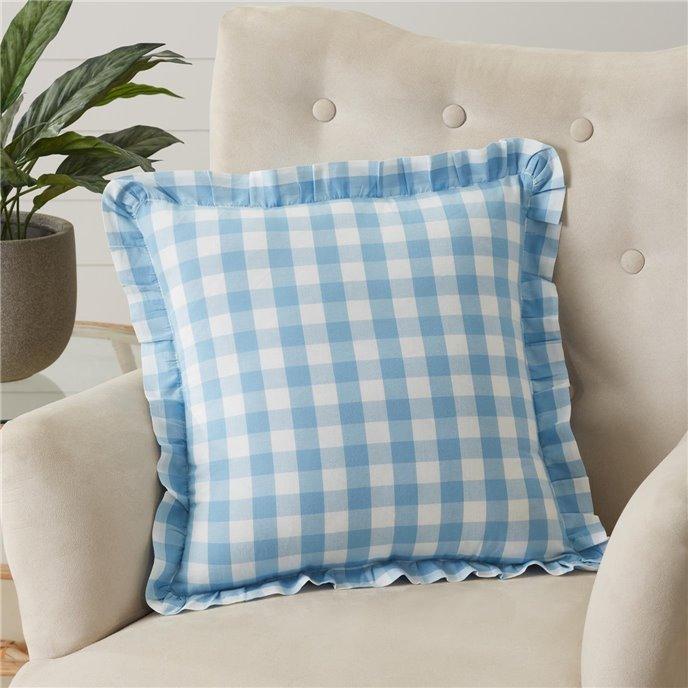 Annie Buffalo Blue Check Ruffled Fabric Pillow 18x18 Thumbnail