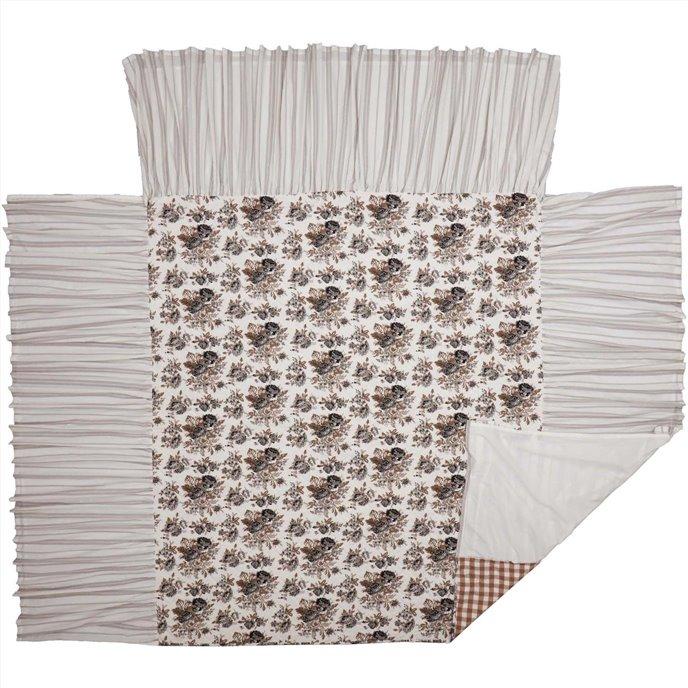 Annie Portabella Floral Ruffled California King Coverlet 84x72+27 Thumbnail