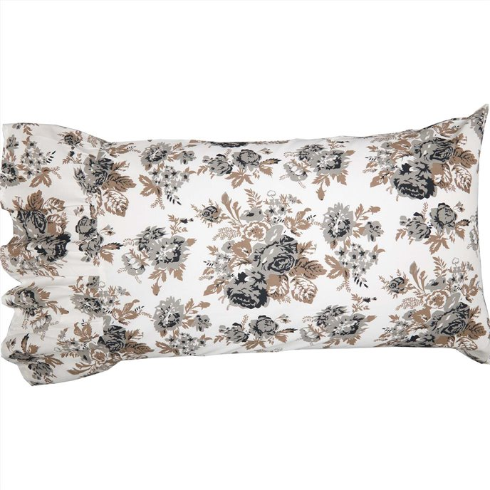 Annie Portabella Floral Ruffled Standard Pillow Case Set of 2 21x26+8 Thumbnail