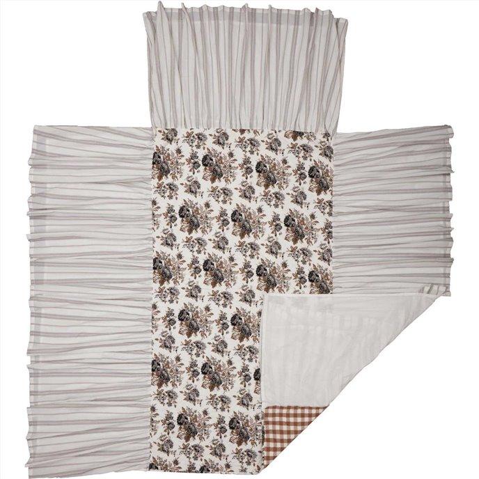 Annie Portabella Floral Ruffled Twin Coverlet 76x39+27 Thumbnail