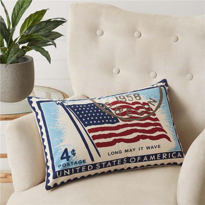 Flag Stamp Pillow 14x22 Thumbnail
