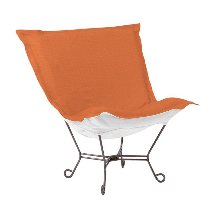 Howard Elliott Scroll Puff Chair Outdoor Sunbrella Seascape Canyon Titanium Frame Complete Chair Thumbnail