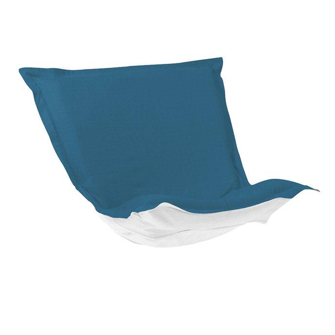 Howard Elliott Puff Chair Cushion Outdoor Sunbrella Seascape Turquoise Cushion and Cover Thumbnail